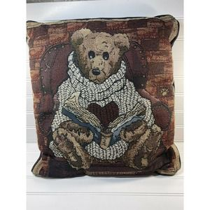 """Boyd's Bear's Heart Sweater Tapestry Pillow Book Reading 15"""" Square Vintage"""